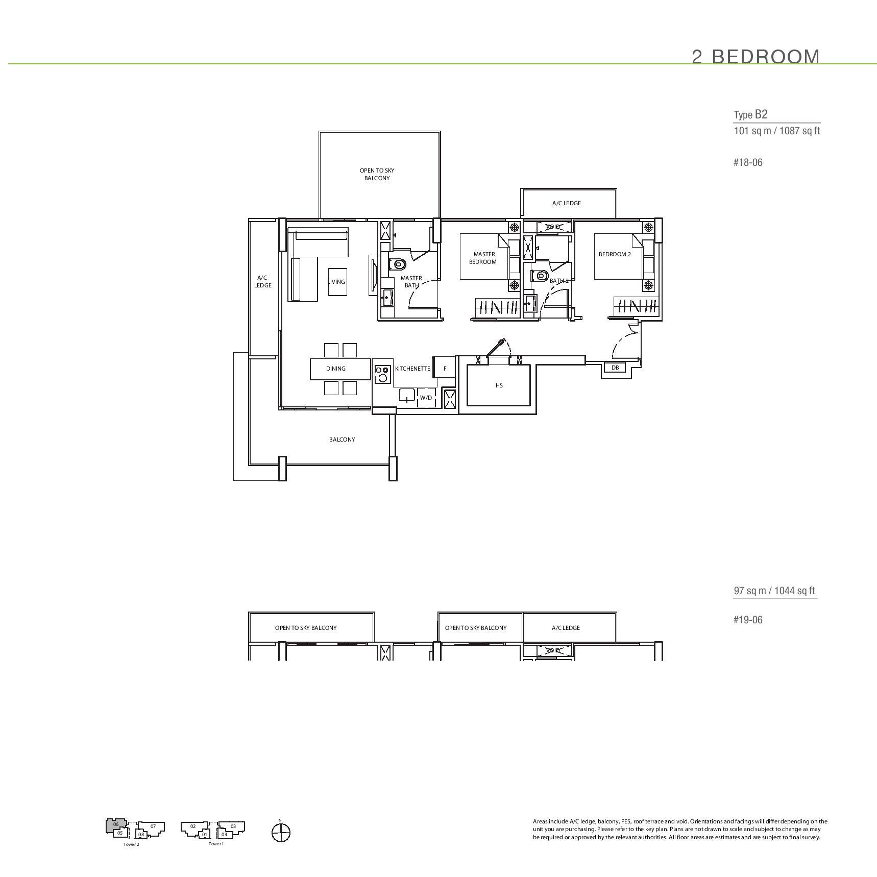 The Line @ Tanjong Rhu 2 Bedroom Floor Plans Type B2