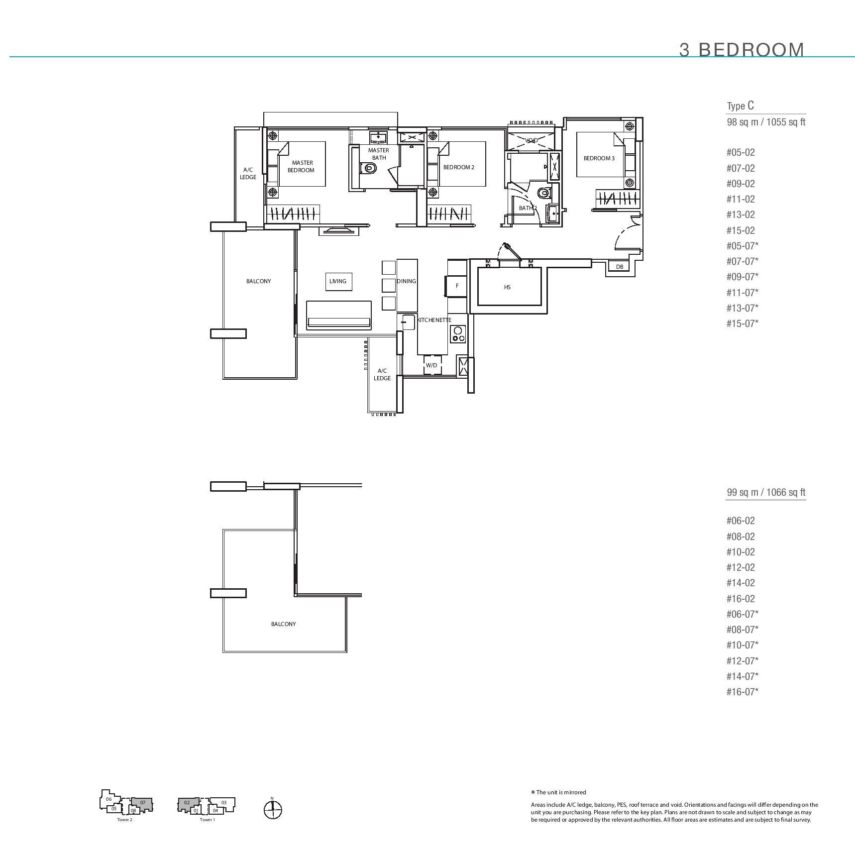 The Line @ Tanjong Rhu 3 Bedroom Floor Plans Type C