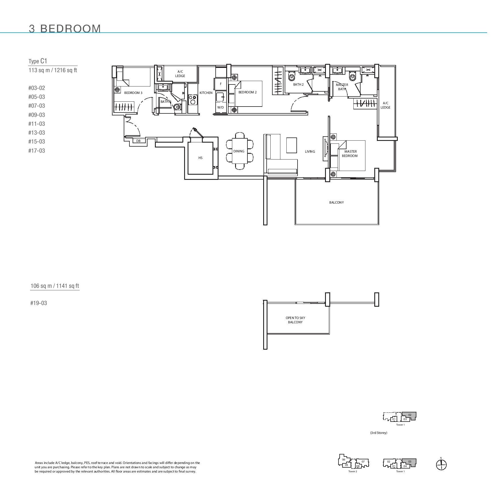 The Line @ Tanjong Rhu 3 Bedroom Floor Plans Type C1 Mirror