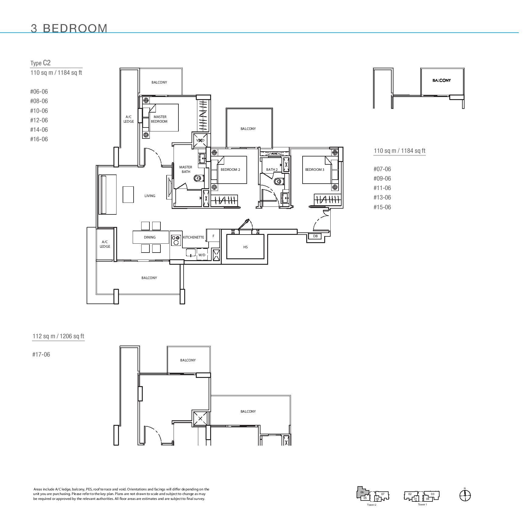 The Line @ Tanjong Rhu 3 Bedroom Floor Plans Type C2