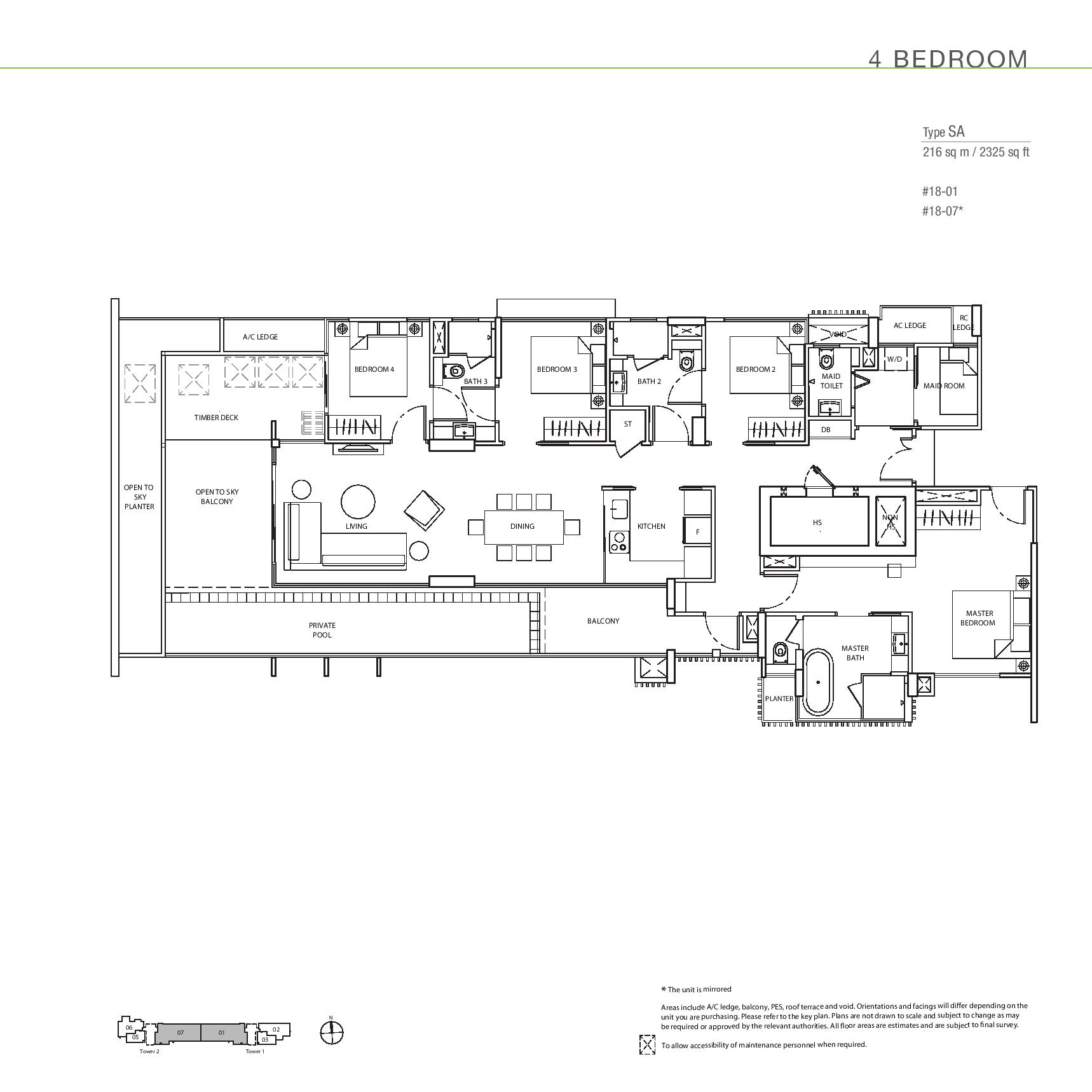 The Line @ Tanjong Rhu 4 Bedroom Sky Apartment Floor Plans Type SA