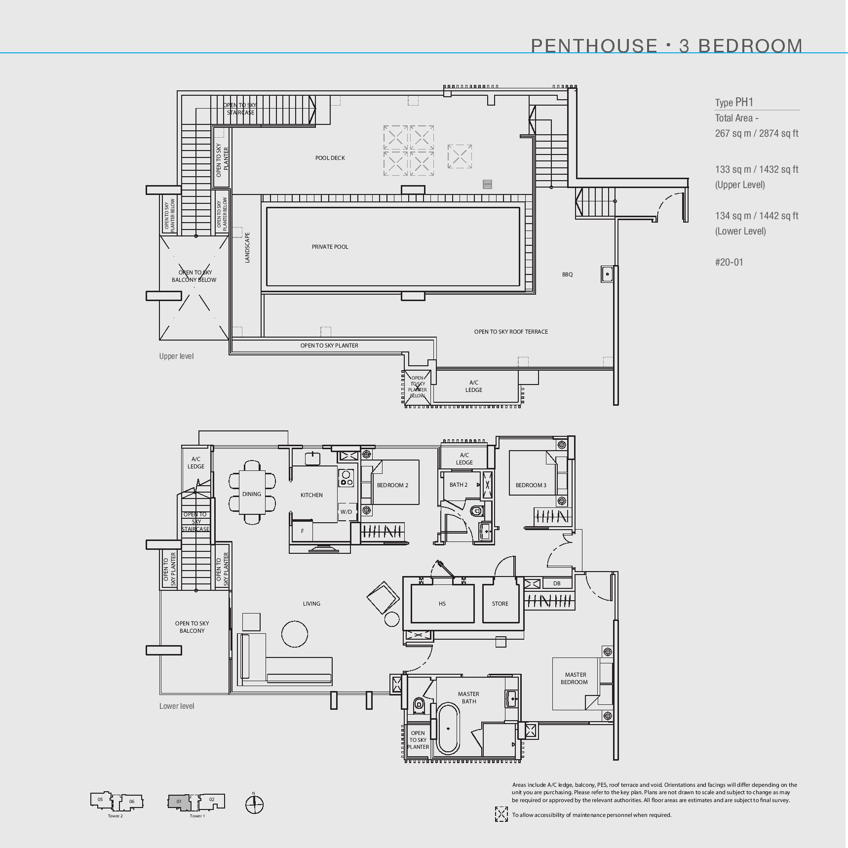 The Line @ Tanjong Rhu 3 Bedroom Penthouse Floor Plans Type PH1