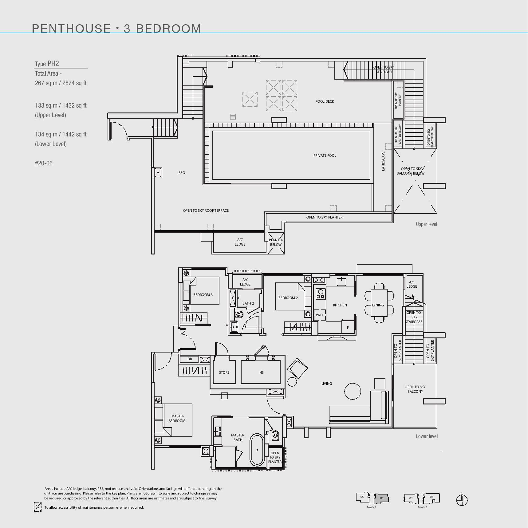 The Line @ Tanjong Rhu 3 Bedroom Penthouse Floor Plans Type PH2