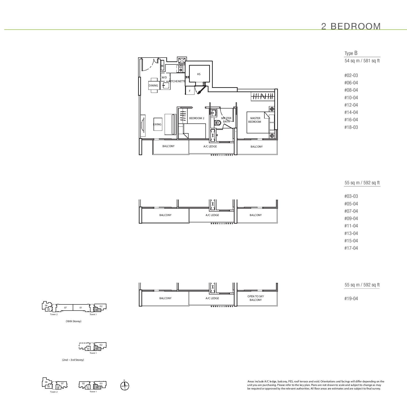 The Line @ Tanjong Rhu 2 Bedroom Floor Plans Type B