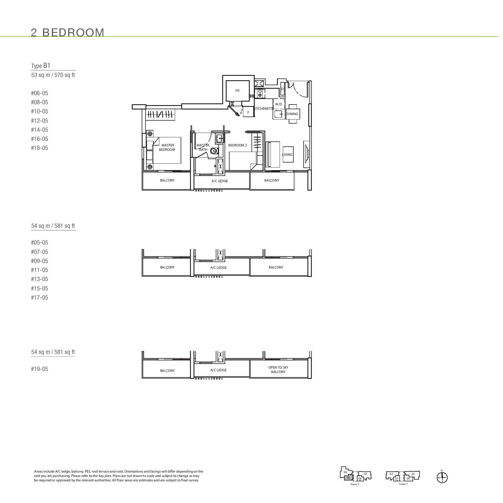The Line @ Tanjong Rhu 2 Bedroom Floor Plans Type B1