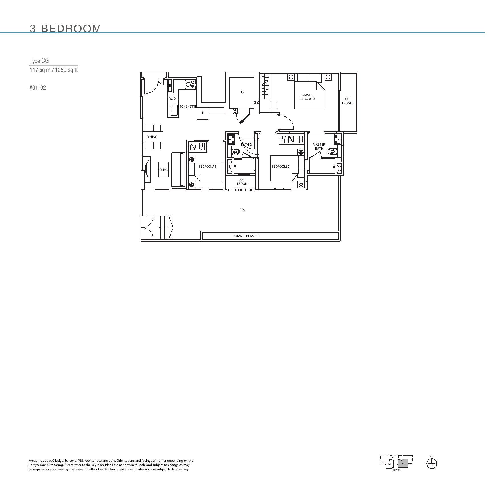 The Line @ Tanjong Rhu 3 Bedroom Floor Plans Type CG