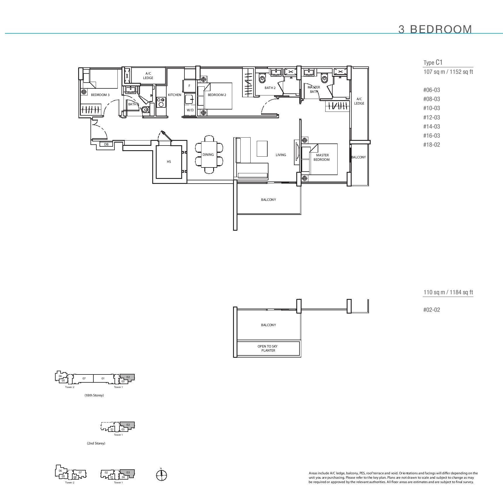 The Line @ Tanjong Rhu 3 Bedroom Floor Plans Type C1