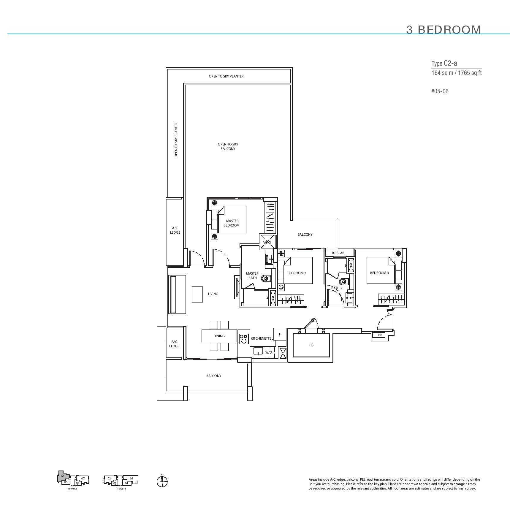 The Line @ Tanjong Rhu 3 Bedroom Floor Plans Type C2a